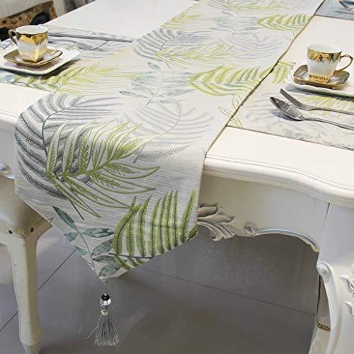 Nvfshreu Qiangzi tafelloper wikkelpatroon groen catering baby douche woonkamer bilayer eenvoudige stijl tabel doek 33 * 210 cm (kleur bruin maat 33 * 210 cm)