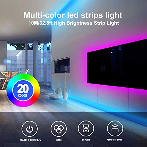 Daybetter 32.8ft 10m Led Strip Lights, Flexible Color Changing 5050 RGB 300 LEDs Light Strips Kit with 44 Keys Ir Remote and 12v Power Supply 4