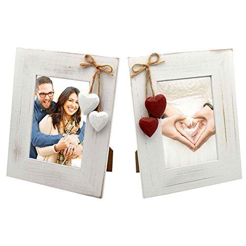 """Nicola Spring Bilderrahmen-Set - Holz-Rahmen mit roten Herzen & weißen Herzen - Weiß - für Fotos 10 x 15 cm (4 x 6"""") - 2 Stück"""