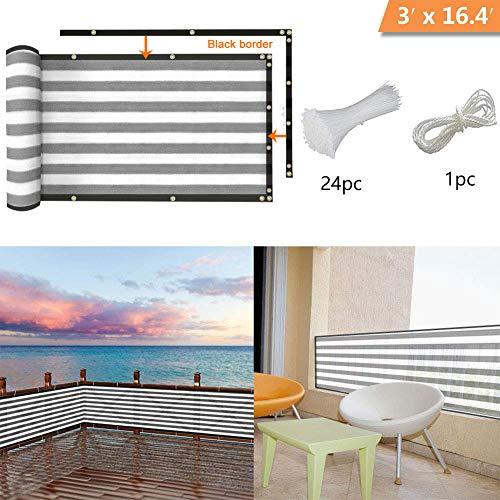 longdafei Balkon Sichtschutz UV-Schutz blickdichte wetterbeständige Balkonbespannung Balkonverkleidung mit Kabelbindern HDPE-Spezialgewebe 5 Meter (90x500cm) (Grau und Weiß)