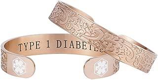 Type 1 Diabetes Medical Alert Bracelet Rose Gold Filigree Emergency ID Cuff Bangle for Women 7.0-8.0