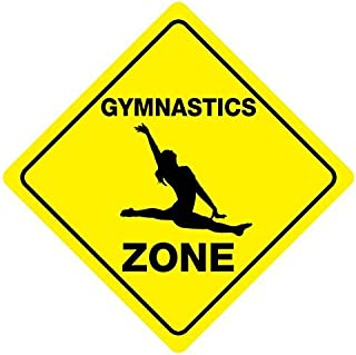 Gymnastics Zone Crossing Funny Metal Aluminum Novelty Sign