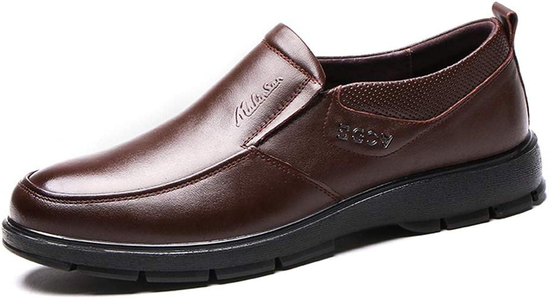 LXLA MEN's Cowhide Business Casual läder skor skor skor män s Slip -on Round Head Comfortable Loafers for MEN (färg  bspringaaa, Storlek  9.5 US  8.5 UK)  många medgivanden