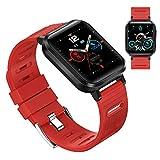 HQPCAHL Smartwatch con Oxímetro De Pulso Esfigmomanómetro Y Pulsómetro Reloj Inteligente Impermeable para Hombre Mujer, Pulsera De Actividad Inteligente Podómetro con Cronómetro para Android iOS,Rojo