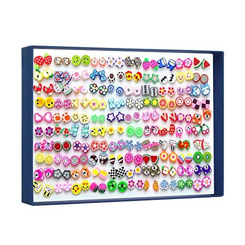 PTN 100 Paar SchöN MäDchen Ohrstecker Set, Plastik Verhindern Sie Allergien Ohrringe, Tier- Und Fruchtgrafiken SchöN Kinderohrringe
