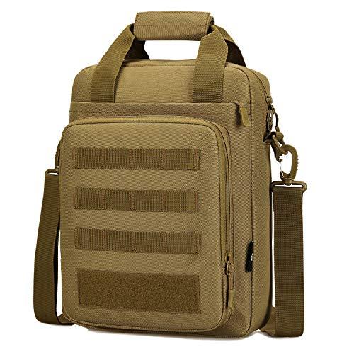 BAIGIO Sac Bandoulière Tactique Homme Sac d'Epaule Militaire Sac Messager Imperméable pour Travail Voyage Camping Randonnée (Kaki)