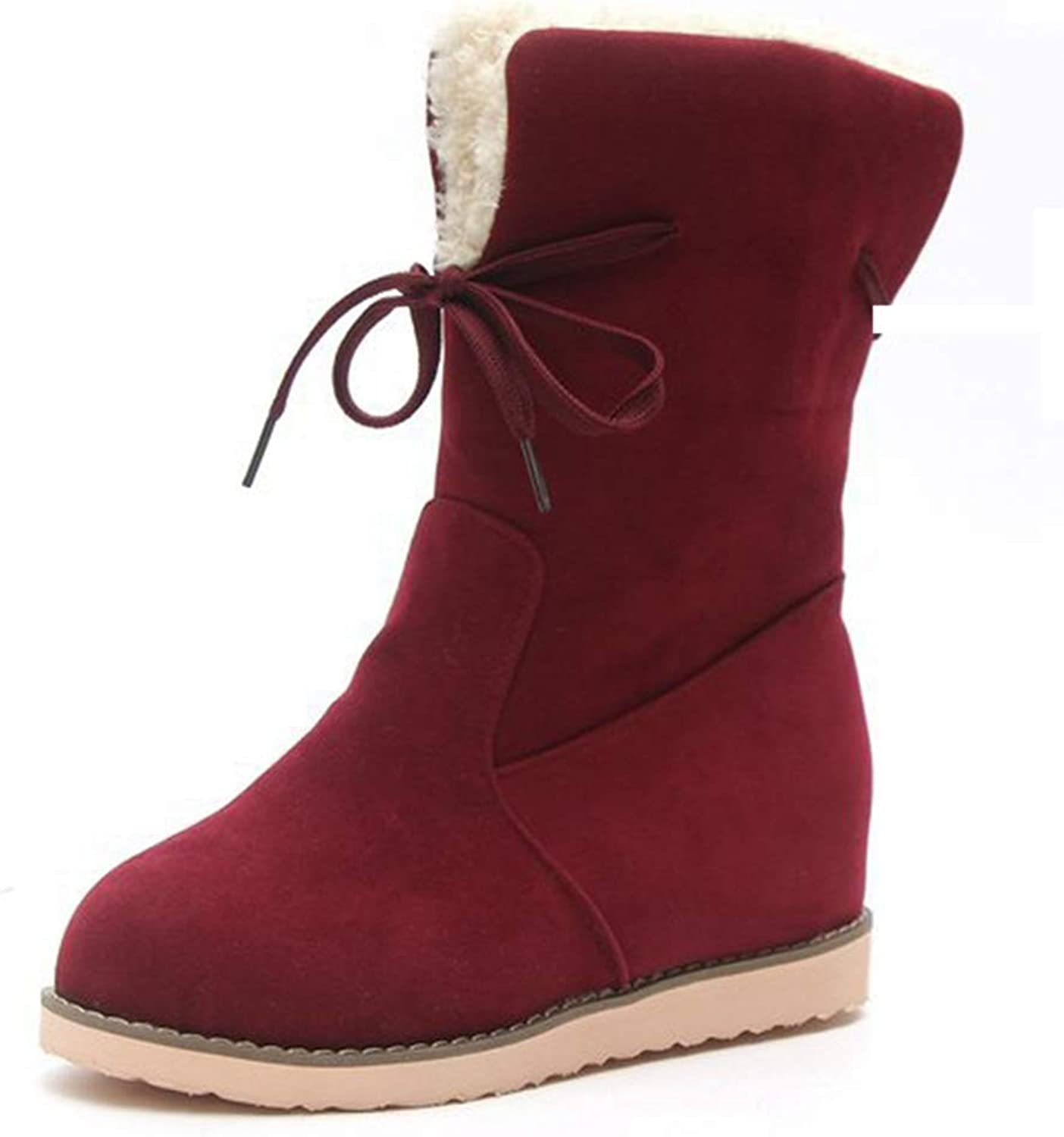 Hoxekle Fashion Warm Women Cotton shoes Fall Winter Snow Boots Comfortable Suede Lady Boot Solid color Female shoes