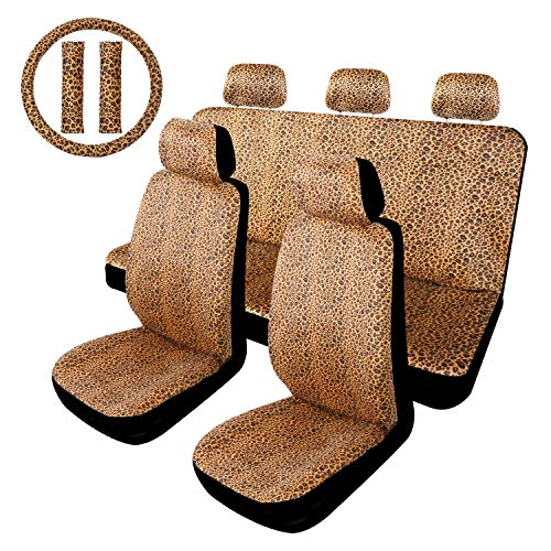 Copap Leopard Seat Covers Full Set with 15 Inch Steering Wheel Cover Universal Fit for Car Truck SUV & Van Leopard Cheetah Print Pattern