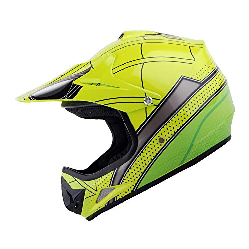 WOW Youth Kids Motocross BMX MX ATV Dirt Bike Helmet Spider Green