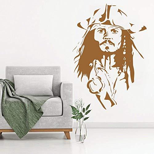 YuanMinglu Kapitän Piratenkopf Cool Poster Vinyl Wandmalerei Aufkleber Wandtattoo Schlafzimmer Wohnkultur Kunst Mobile DIY Braun 31X42 cm