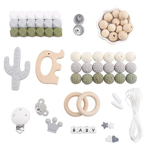 let's make Baby Silikon Beißring Perlen Lebensmittelqualität Elefant Anhänger Holzring DIY Halskette Kinderkrankheiten Kit Junge Geschenke