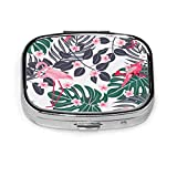 Colorful Tropical Flamingos and Parrot Birds Summer Floral Plants Square Pill Box Decorative Boxes Pill Case Medicine Tablet Holder Wallet Organizer Case for Pocket Or Purse