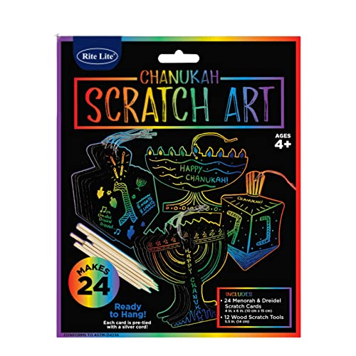 Rite Lite Chanukah Scratch Art, Perfect Hanukkah Gift for Kids, Hanukkah Art Kit, Hanukkah Accessories, Hanukkah Arts and Crafts Kit - Comes with 24 Menorah and Dreidel Cards!