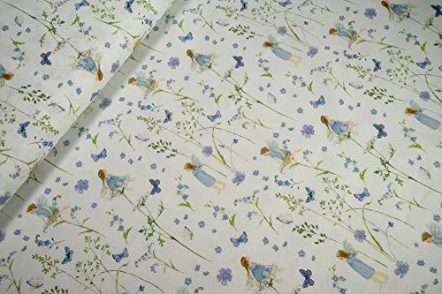 mollipolli-Stoffe acufactum Baumwollstoff Elfengarten blau auf weiß by Daniela Drescher 0,5m