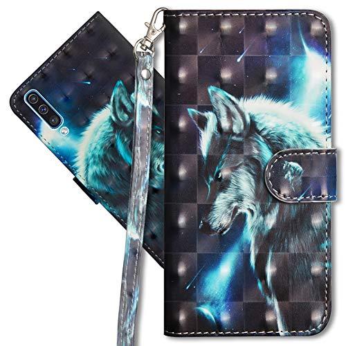MRSTER Samsung A70 Handytasche, Leder Schutzhülle Brieftasche Hülle Flip Hülle 3D Muster Cover mit Kartenfach Magnet Tasche Handyhüllen für Samsung Galaxy A70. YX 3D - Wolf