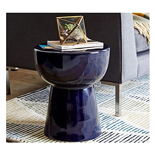 XinQing-Coffee Table Monochrome Side Table Bedside Table, Fiberglass Coffee Table, Bedroom Non-slip Round Table, 36x43.5x29cm (Color : Blue)