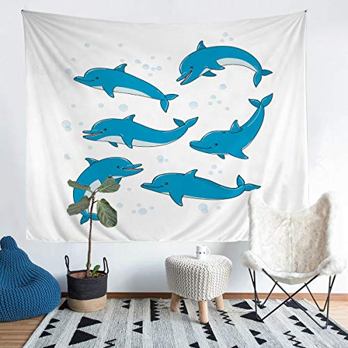 Lindo tapiz de delfines para niñas y niños con temática oceánica marina para colgar en la pared, ideal para colgar en la pared, tapiz de playa de Sealife, tamaño mediano, 51 x 59 cm