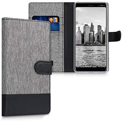 kwmobile Hülle kompatibel mit Nokia 7 Plus - Kunstleder Wallet Hülle mit Kartenfächern Stand in Grau Schwarz
