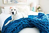 Kaffrey Luxury Chenille Chunky Knit Blanket - Blue Cerulean, 50'x60' - Machine Washable, No Shed Soft Hand-Knitted Large Cozy Thick Yarn Throw - Home, Bedroom Decor Gift for Her