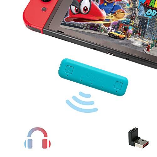 Ajcoflt Adaptador ROUTE AIR BT para Nintendo Switch / Switch Lite / PS4 / PC Transmissor de áudio sem fio BT Dual Stream com aptX USB de baixa latência TIPO C / USB A