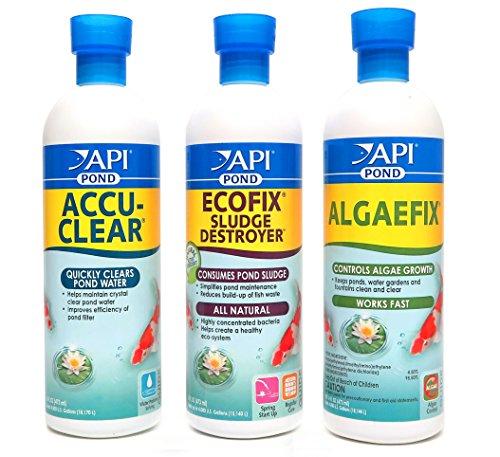 API Pond Care Bundle, Accu-Clear, EcoFix & AlgaeFix, 16-Ounce Each