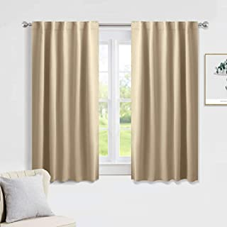 PONY DANCE Beige Blackout Curtains - Kitchen Window Drapes Short Heavy Duty Soft Rod Pocket Curtain Draperies/Window Treatments for Nursery Bedroom, W 42 x L 45 inches, Biscotti Beige, 2 Panels
