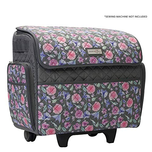 Everything Mary Sewing Machine Rolling Carrying Case, Pink Floral - Trolley Bag with Wheels for Brother, Bernina, Singer, Most Machines - Wheeled Tote Carrier for Notions & Crafts
