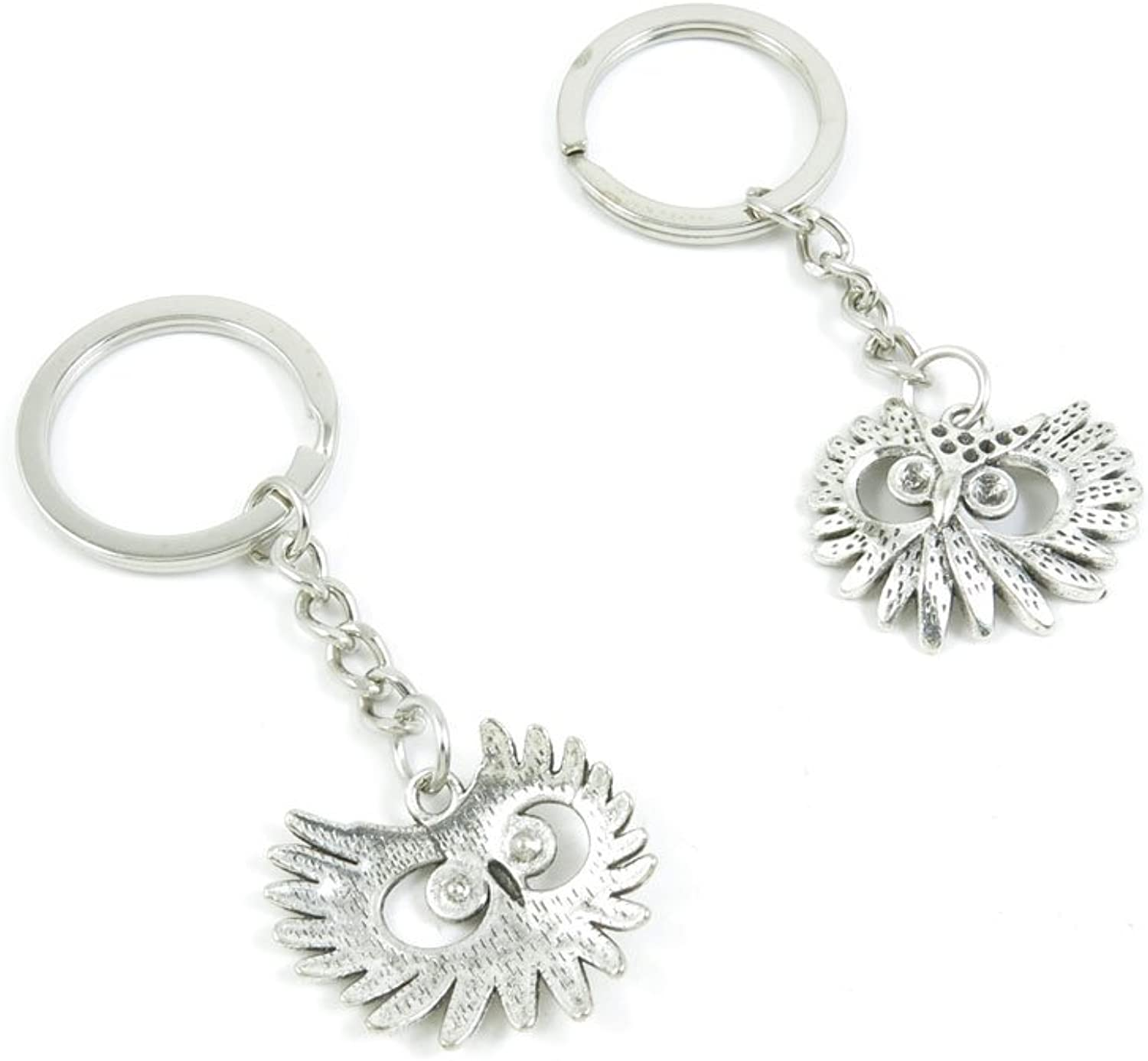 Keyrings Keychains Door Car Keys Rings Tags Chain Antique Silver Tone Bulk Lots P3MR7X Owl