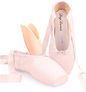 Daydance Professional Ballet Pointe Shoes Satin Ribbon Ballet Shoes with Silicone Toe Pads