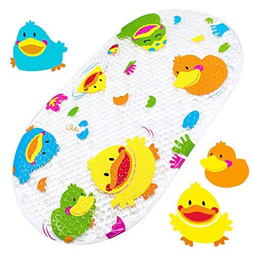 Yolife Badewannenmatte Baby Wanneneinlage Schön Ente Suckers Antirutschmatte Schönen Optik Anti-Rutsch Badematte Karikatur Entwurf Massage Dusche Badematte für Kinder 39 x 69 cm
