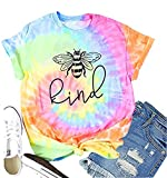 Be Kind Shirt for Women Tie Dye T Shirts Bee Kind Short Sleeve Graphic Tees Tops, Large