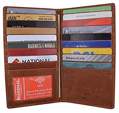 Marshal Bifold Genuine Leather RFID Blocking Credit Card ID Holder Tall Wallet (Antique)