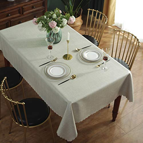 Qualsen Mantel Antimanchas Rectangular Impermeable, 140 x 200 cm, Manteles Mesa Decorativo para Hogar Comedor del Cocina, Lino