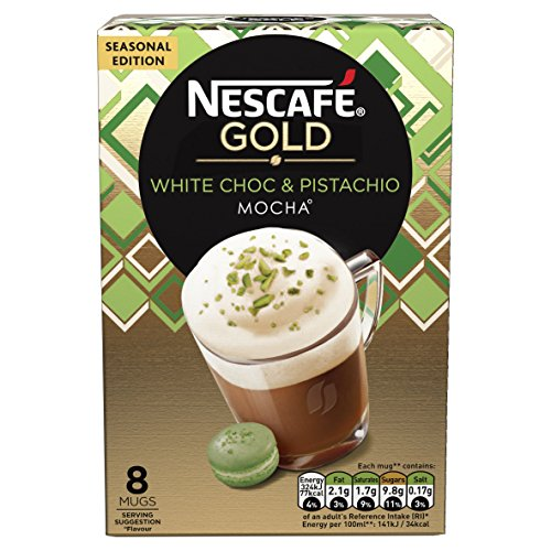 NESCAFÉ GOLD Chocolate and Pistachio Coffee, 8 Sachets, (Pack of 6, Total 48 Sachets)