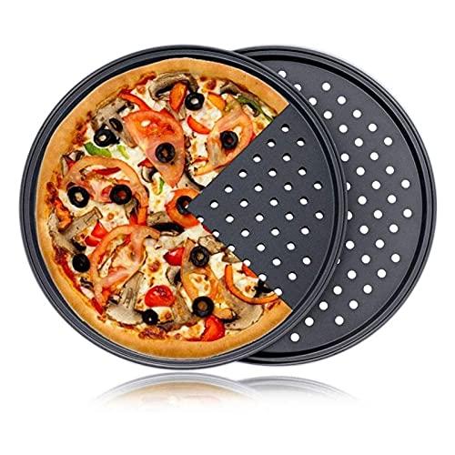 XIN NA RUI Moldes para Pizza Pizza Antiadherente para Hornear Bandeja para Hornear Acero al Carbono Utensilios Resistentes al Calor con Agujero para Hornear Base de diseño de perforación (Color : D)