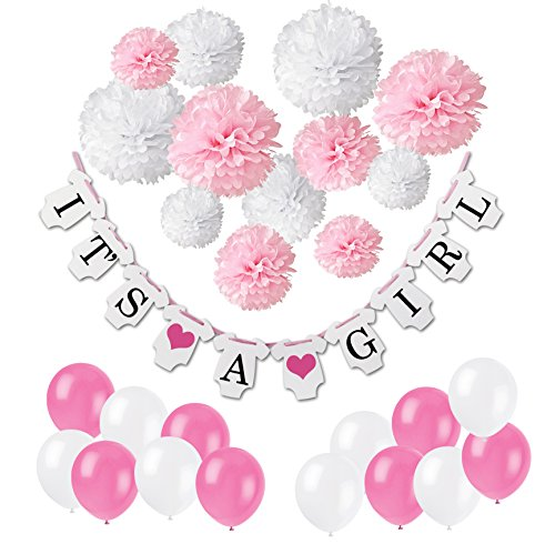 """Wartoon """"IT'S A GIRL"""" Paper Hanging Banner Decoration Flags and 12 paper Pompoms for Baby Shower Baby Birthday Decoration"""