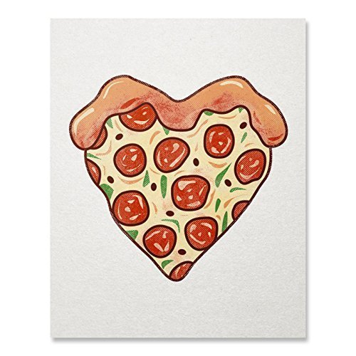 I Love Pizza Heart Art Print Italian Restaurant Food Lover Wall Poster Pepperoni Pizza Illustration Home Decor 8 x 10 inches