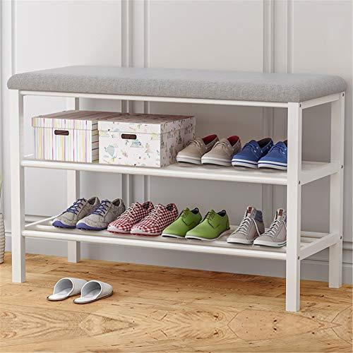 Zapatero Multifuncional Banco de zapatos para zapatos de 3 niveles con cojines acolchados de asiento resistente estructura de zapatos de marco de metal Uso Amplio ( Color : Gris , Size : 80x30x50cm )