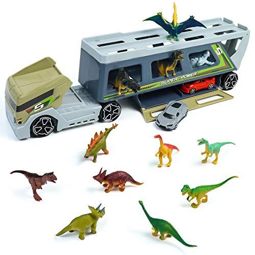 Camión Transportador de Dinosaurios Juguetes - con 12 Dinosaurio 2 Coches Cars Coches de Juguetes Regalo Navidad para Niños Niñas 3 4 5 6 Años