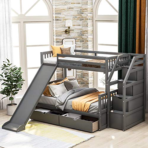 Twin Over Full Bunk Bed with Slides for Kids and Teenagers, Solid Wood Bunk Bed Frame with Drawers and Storage, No Spring Box Needed, Grey