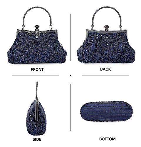 Selighting 1920s Vintage Beaded Clutch Evening Bags for Women Formal Bridal Wedding Clutch Purse Prom Cocktail Party Handbags (One Size, Navy Blue)