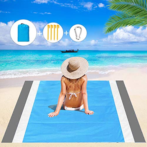 HISAYSY Stranddecke, Picknickdecke, extra groß, 210 x 200 cm, wasserdicht, leicht, ohne Sand, Strandmatte für Reisen, Camping, Wandern, Sandstrand, Picknickdecke für Reisen, Camping, Wandern