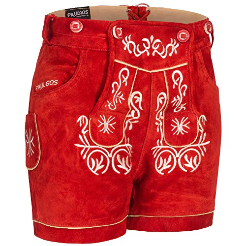 PAULGOS Damen Trachten Lederhose + Träger, Echtes Leder, Kurz in 8 Farben Gr. 34-50 M2, Farbe:Rot, Damen Größe:36