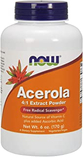 NOW Supplements, Acerola 4:1 Extract Powder, Acerola and Ascorbic Acid, Free Radical Scavenger*, 6-Ounce