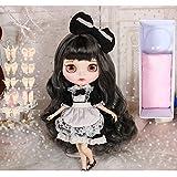 HYZM Blythe Doll 1/6, 19 Joints Blythe Muñeca + Maquillaje Cara + Ropa + Ojos de 4 Colores + 9 Pares de Manos, Cabello Rizado Gris Negro