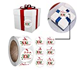 OLOPE Christmas Stickers Christmas Roll Pack Sticker, 500pcs Round Adhesive Labels Kraft Paper, Decorative...