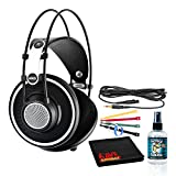 AKG K702 Open-Back Reference Studio Headphones Bundle with (6) Velcro Cable Ties + Headphone Cleaning Solution + Microfiber Cleaning Cloth