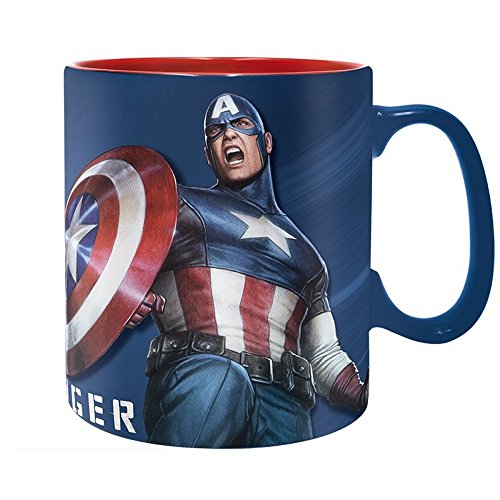 Marvel Comics - Taza de cerámica gigante de 460 ml, Capitán América,...