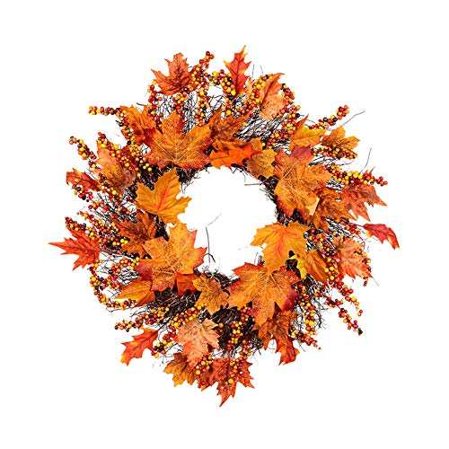 Adoture Autumn Simulation Wreath 45cm/18inch Garland Rattan Artificial Door Wreath for Halloween Home Decor Ornaments Christmas Thanksgiving Hanging Decoration