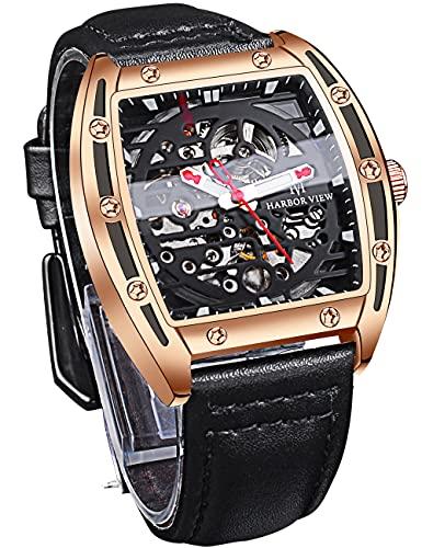Moda Militar Reloj Automático Cuadrado Esqueleto 30 M Impermeable Relojes para Hombres Negro Cuero Genuino Reloj Hombre